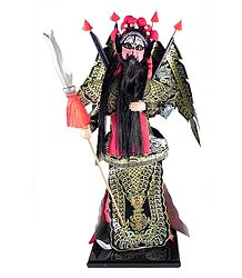 Chinese Opera Character Doll in Black Printed Dress