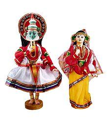 Pair of Kathakali Dancer Cloth Dolls