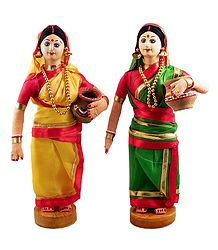 Pair of Bengali Lady - Costume Doll