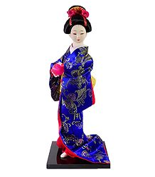 Japanese Geisha Doll in Blue Brocade Kimono Dress Holding Ball