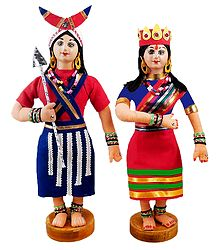 Pair of Naga Folk Dancers - Cloth Dolls