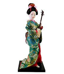 Buy Japanese Doll in Kimono Dress Playing Guitar
