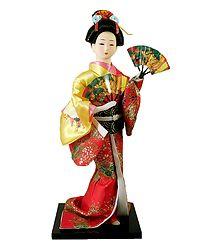 Japanese Doll in Brocade Kimono Dress Holding Fan