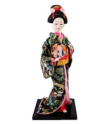 Japanese Geisha Doll in Brocade Kimono Dress Holding Drum