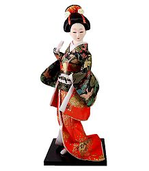 Japanese Geisha Doll in Brocade Kimono Dress Holding Fan