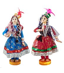 Pair of Kathak Dancer Cloth Dolls