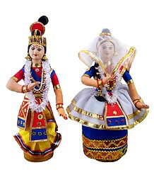 Pair of Manipuri Dancers - Cloth Doll