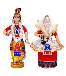 Manipuri Dancers Depicting Radha Krishna - Cloth Doll