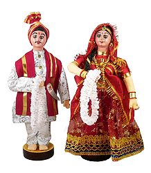Marwari Bride and Bridegroom from Rajasthan - Cloth Doll