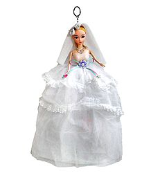 White Net Dressed Acrylic Hanging Wedding Doll