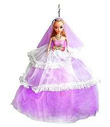 Mauve Net Dressed Acrylic Hanging Wedding Doll
