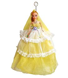 Light Yellow Net Dressed Acrylic Hanging Wedding Doll