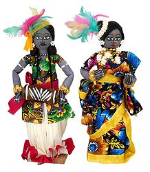 Tribal Folk Dancers - Cloth Dolls