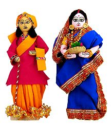 Bengali Couple - Wood with Cloth Doll
