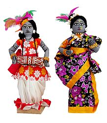 Tribal Folk Dancers - Wood with Cloth Doll