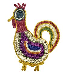 Multicolor Banana Fibre Cock - Wall Hanging