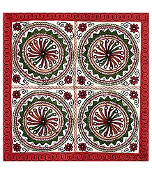 Embroidered Cloth with Circular Design - Wall Hanging
