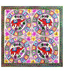 Embroidered Cloth with Elephant Design - Wall Hanging