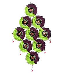 Cluster of Suns in Green and Maroon - Pipli Wall Hanging