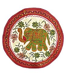 Embroidered Cloth with Elephant Design