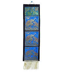 Elephant Design on Brocade Silk Letter Holder with 3 Pockets