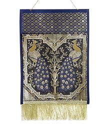 Blue Brocade Silk Magazine and Paper Holder with One Pocket