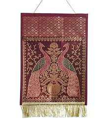 Maroon Brocade Silk Magazine and Paper Holder with One Pocket