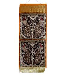 Peacock Design Brocade Silk Magazine Holder with Two Pockets