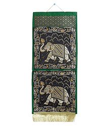 Elephant Design on Brocade Silk Magazine Holder with 2 Pockets
