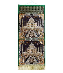 Tajmahal Design on Brocade Silk Magazine Holder with 2 Pockets