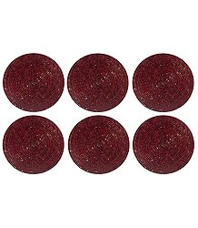 Maroon Beaded Small Round Hand Made Coasters - Set of Six