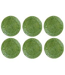 Light Green Beaded Small Round Hand Made Coasters - Set of Six