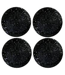 Black Beaded Small Round Hand Made Coasters - Set of Four