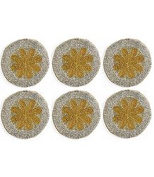 White with Yellow Design Beaded Small Round Hand Made Coasters - Set of Six