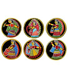 Set of 6 Square Table Coasters with Tikuli Painting