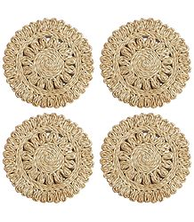 Four Hand Woven Jute Table Coasters