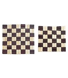 Brown and Off-White Check Bamboo Coasters - Set of 2