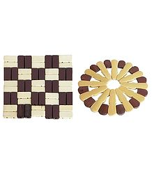 Set of 6 Brown and Off-White Bamboo Coasters