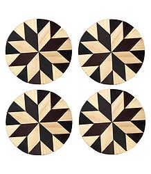 Brown and Off-White Round Wooden Coasters - Set of Four