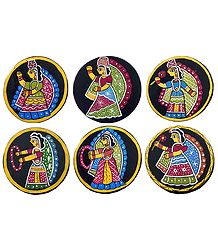 Six Round Table Coasters with Tikuli Painting on Hardboard
