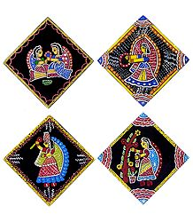 Four Square Table Coasters with Tikuli Painting on Hardboard