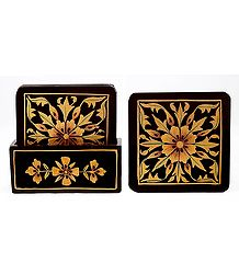 Set of 6 Hand Painted Square Table Coasters and Holder