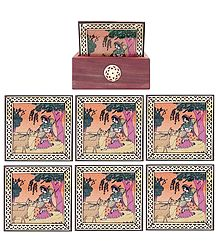 Six Gemstone Ragini Painting Coasters with Holder