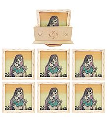 Six Gemstone Princess Painting Coasters with Revolving Holder