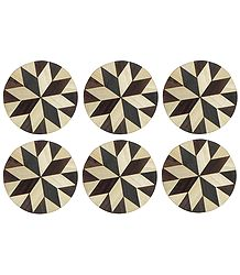 Brown and Off-White Round Wooden Coasters - Set of Six