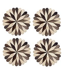 Brown with Off-White Round Wooden Coasters - Set of 4