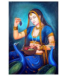 Rajput Princess Feeding Peacock - Canvas Painting