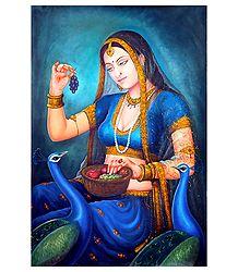 Rajput Princeess Feeding Peacock