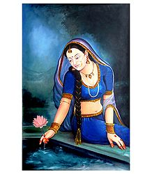 Rajput Princeess Plucking Lotus - Canvas Painting