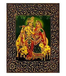 Radha Krishna with Cows - Deco Art Wall Hanging